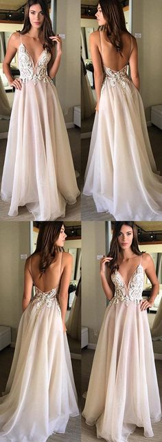Champagne v neck lace long prom dress, champagne evening dress#RosyProm #promdress #promgown #longpromdress #simplepromgown #charmingpartydress #eleganteveningdress #Vneckpromdress #backlesspromgown