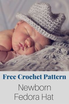 Free Crochet Pattern - An adorable newborn crochet fedora hat pattern! Incredibly easy to crochet and fun for beginners. By Posh Patterns.