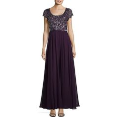 J Kara Women's Sequined Chiffon Gown (760 DKK) ❤ liked on Polyvore featuring dresses, gowns, plum mercury, sequined dresses, petite dresses, purple chiffon dress, beaded evening gowns and sequin gown