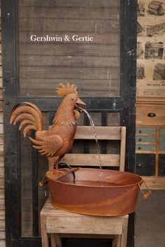 "FARMHOUSE STUFF  ETC.   New! ""Something to Crow About"" Rooster Folk Art Fountain."