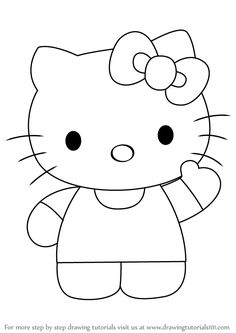 how to draw hello kitty drawingtutorials101com - Hello Kitty Pictures To Draw