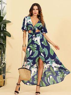 443db3f7fb9 Open Midriff Knot Front Jungle Dress -SheIn(Sheinside) Trendy Fashion
