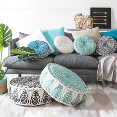 Give your space an instant update with our Nomad poufs! Available in four modern tones, these poufs feature intricate embroidery in a gorgeous design. Style with our Nomad cushions for a coordinated and incredibly comfortable look.
