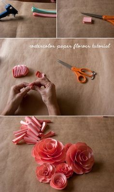 """Paper flower tutorial.    Boiled down process:    1. Purchase your paper. I used these exact pads of watercolor paper (I bought the 18x24"""" size) and they worked well. I spent about 85 on paper, but didn't have enough time to use all of it.    2. Paint your paper, let it dry, press it flat if necessary. I bought a bunch of watercolors, diluted them"""