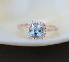 Rose Gold Engagement ring. Blue Green Sapphire ring. 1.7ct cushion sapphire 14k RG diamond ring.