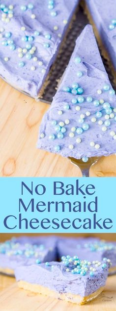 No Bake Mermaid Cheesecake - perfect for a birthday party! - No Bake Mermaid Cheesecake – perfect for a birthday party! Köstliche Desserts, Delicious Desserts, Dessert Recipes, Dessert Party, Yummy Treats, Sweet Treats, Mermaid Cakes, Cheesecake Recipes, Yummy Cakes