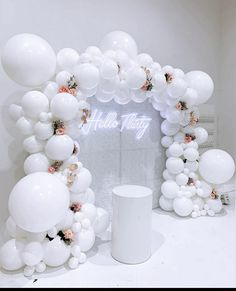 We absolutely love this classic all white backdrop for modish_chic 's birthday over the weekend! 😍❤️🥂🥂 Balloons - everythingluxedecor Wall and neon sign - all_modern_rentals Lighting and venue - thelightsourcecompany Venue decor - White Party Decorations, Birthday Balloon Decorations, 21st Bday Ideas, Birthday Ideas, 30th Birthday Parties, 18th Birthday Decor, 30th Birthday Balloons, Themed Parties, Happy Birthday