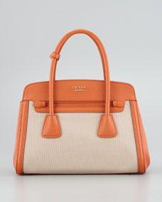 Canvas & Saffiano Cuir Small Tote Bag, Orange