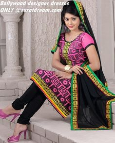 Black n Pink Straight Suit Material with work on border 849.00rs  BEST quality dress materials only at suratdream!!! Visit us at http://suratdream.com/ Call us 7760657542