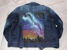 Boys Denim Jacket Hand Painted Upcycled Jean Jacket Milky