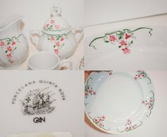 Tea Set - Dessert Tea Set - Porcelana Quinta Nova in pink floral. Made in Portugal by KleinDesignVintage on Etsy