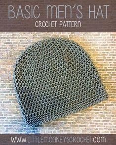 Basic Mens Crochet Hat Pattern #diy #gift #gifts