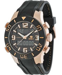 MAREA AnaDigi Black Rubber Strap  Τιμή: 79€  http://www.oroloi.gr/product_info.php?products_id=31480