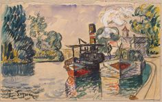 Paul Signac Tugboat and Barge in Samois, ca. pencil, watercolour, gouache and white, 12 x cm Impressionist Paintings, Impressionism, Paul Signac, Cowboy Pictures, Salon Art, City Museum, Chalk Drawings, Landscape Drawings, Urban Sketching