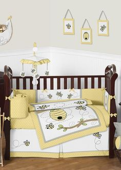 Yellow And Gray Honey Bee Baby Bedding - 9pc Crib Set