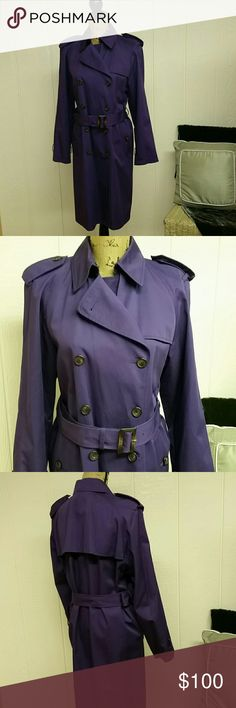 """Purple JNY trench coat Military inspired double breasted trench with belt. Fully lined.  Two side pockets and 1 internal pocket.  Shell = 100% cotton Lining 100% polyester Bust = 21.5"""" Shoulder accross = 18.5"""" Sleeves = 23"""" Length from shoulder to hem = 39"""" Jones New York Jackets & Coats Trench Coats"""