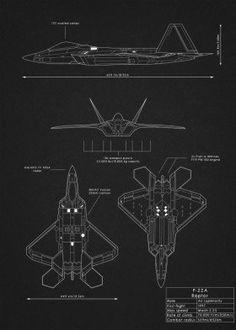 f22 raptor fighter plane aircraft airplane jet weapon war design schematic blueprint diagram