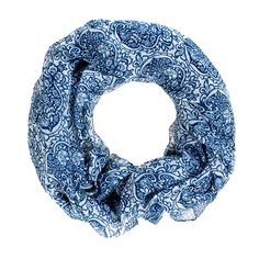 $28.00! Wrap yourself up in this amazing new infinity scarf style! This indigo hued folk-meets-paisley print looks amazing with denim and casual tees/tanks. Cowl can be looped and wrapped around. 34.5
