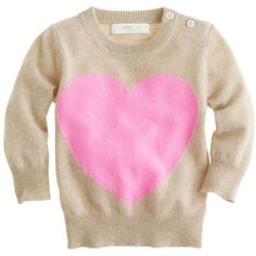 J.Crew Collection cashmere baby sweater in heart me (540 BRL) ❤ liked on Polyvore featuring baby, kids, baby clothes, baby girl, baby girl clothes and hthr flax