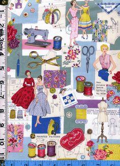 Fabric Makower SEW RETRO Collage of 50's Fashions by fabricsmart