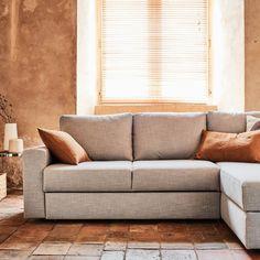 FERNAND - canapé d'angle réversible convertible en tissu gris borie Structure en pin massif et panneau de particules. Suspension par sangles élastiques entrecroisées. Pieds en polypropylène noir. Garnissage dos en fibres polyester. Couchage occasionnel Angles, Thing 1, Sofa, Couch, Home Living Room, Furniture, Home Decor, Justine, Fibres
