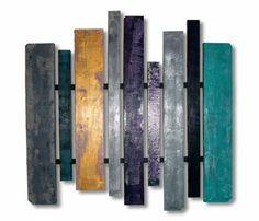 TABLEAU PEINTURE bois palette texture carrés Abstrait Acrylique  - la cité bleue