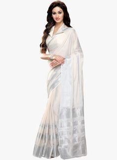 Buy Shonaya White Solid Saree for Women Online India, Best Prices, Reviews | SH457WA27OFCINDFAS