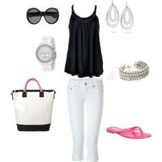 black shirt white pants combination of clothes fashion wear accessories http://www.womans-heaven.com/black-shirt-white-pants-and-accessories-combination/