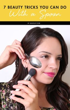 What would you say if we told you there are SEVEN beauty tricks you can do with a spoon? Spoons aren't for eating anymore. We'll show you how to use those bad boys to contour and many ot (Beauty Tricks Lost) Beauty Secrets, Diy Beauty, Beauty Makeup, Hair Makeup, Professionelles Make Up, Facial, Beauty Hacks For Teens, Make Up Anleitung, Make Up Inspiration
