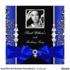 Royal Blue Bow Birthday Party Black Silver Photo 3 5.25x5.25 Square Paper Invitation Card