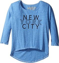 The Original Retro Brand Kids Girls New York City 34 Dolman Sleeve Big Kids Streaky Blue Shirt * See this great product.Note:It is affiliate link to Amazon.