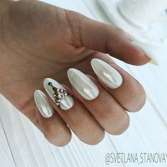 18 Beautiful White Nails Designs for Every Day ★ White Nails with Stones Picture 2 ★ See more: http://glaminati.com/white-nails-designs/ #whitenails #whitenailsdesigns