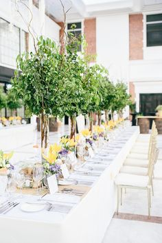Yellow and Purple Centerpiece for Table Setting | http://brideandbreakfast.ph/2014/07/16/summer-sophisticate/ | Photographer: NYAPS*