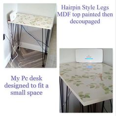 Paper is Laura Ashley Aviary.  Hairpin style legs MDF desk table for small space in living room.  Industrial style shabby chic