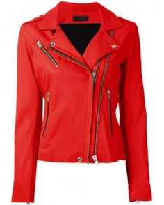 Scrumptious Draper Red Leather Jacket Women