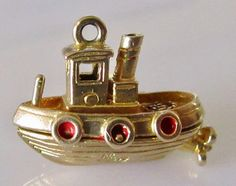 Vintage 9ct Gold Nuvo Tug Boat Charm by TrueVintageCharms on Etsy