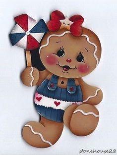 Patriotic Gingerbread | HP-GINGERBREAD-Patriotic-Girl-FRIDGE-MAGNET