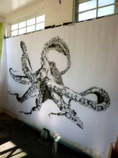 Pinned- Lynn Hanson: Saw her at LA Art Show and she had a giant octopus drawing atop a vintage world map. Octopus Drawing, Octopus Tattoo Design, Octopus Tattoos, Octopus Art, Kraken Art, Cthulhu, La Art, Graffiti, Coastal Art