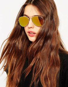 Image 3 of ASOS Gold Aviator With Flat Lens