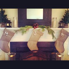 Homemade Christmas stockings!   Burlap Tacky glue Rope Letter ornament   Looked great!