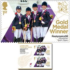 Large image of the ParalympicsGB Gold Medal Winner Miniature Sheet - Equestrian: Team - Open
