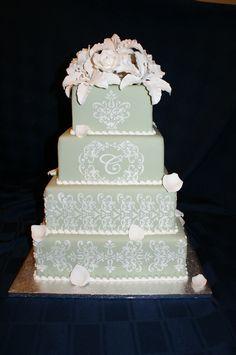 Wedding and Anniversary Cakes Green Cake, Sage Wedding, Beautiful Cakes, Anniversary, Elegant, Classy, Cake Art, Pretty Cakes, Chic