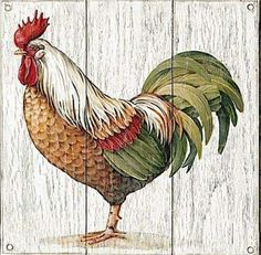 Art Shed, Rooster Painting, Beautiful Chickens, Decorative Bird Houses, Rooster Decor, Chickens And Roosters, Decoupage Vintage, Kitchen Art, Botanical Illustration