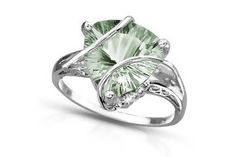 I found '4 Carat Trillion-Cut Green Amethyst and Diamond 14K White Gold Ring' on Wish, check it out!