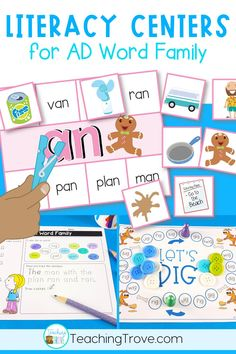 Word family centers for the ad word family give your students a fun, hands on approach to learning and practicing the ad word family. You'll love having a huge variety of activities, worksheets and games all designed to make your word work stations for ad fun and engaging.