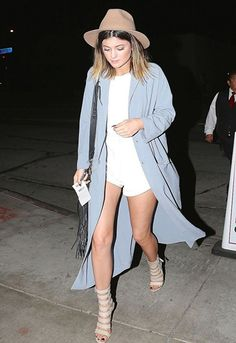 Kylie Jenner wears the blue ASOS duster coat 3 ways