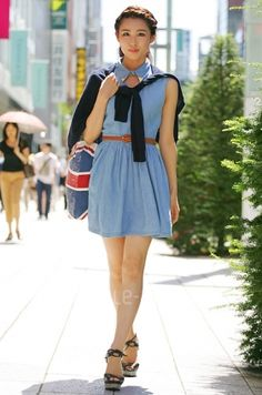 chambray dress with union jack tote -TOKYO STREET STYLE |  style-arena.jp