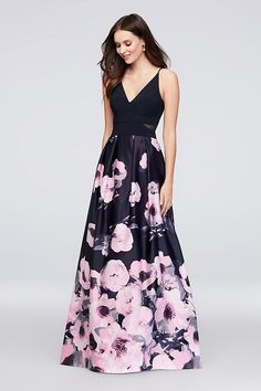 b90bfa7d95305a V-Neck Jersey and Printed Satin Ball Gown