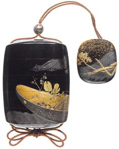 """Beautiful inro & netsuke  Sold for 261,015,$ this roiro lacquer four-case inro, 2¾"""" high and with black and gold lacquer decoration of a boat, loaded with treasures associated with the Seven Gods of Good Fortune and drifting on the waves, is the work of inro artist, Shibata Zeshin. The smaller netsuke is similarly lacquered with waterweed floating above a combed wave pattern."""