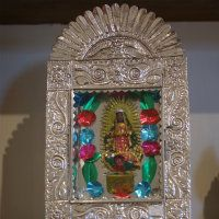 Shiny Tin Hammered Nicho with the  Virgin of Guadalupe -  a definite must have in any Day of the Dead collection.